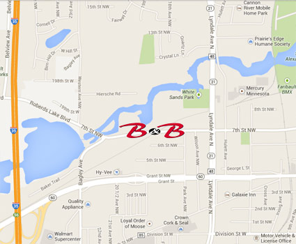 B & B Auto Body Repair Shop is located at 1813 7th Street NM in Faribault, MN.